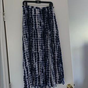 Blue tie dye maxi skirt with double splits